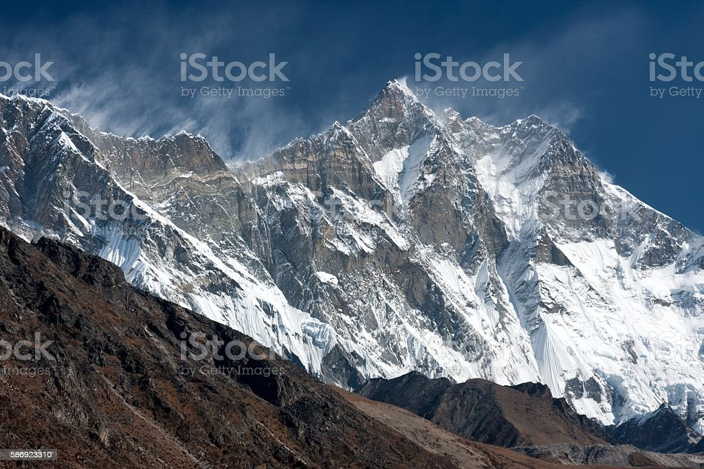 View of Lhotse from Pheriche stock photo
