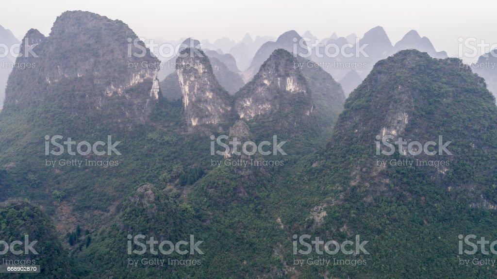 view of Li river and mountain around it stock photo