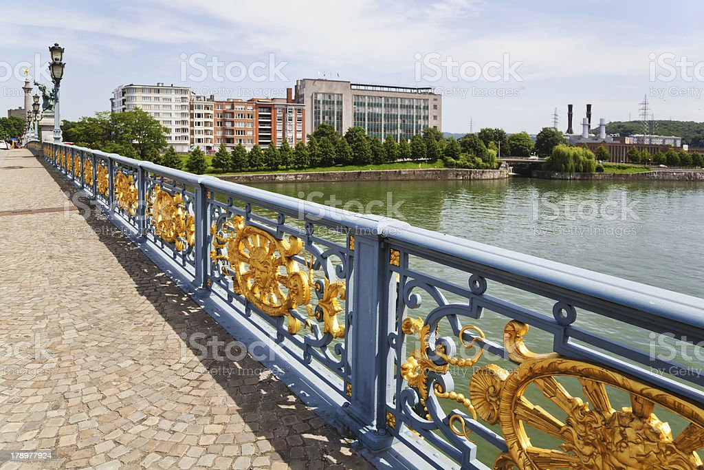 view of Liège from an old bridge stock photo