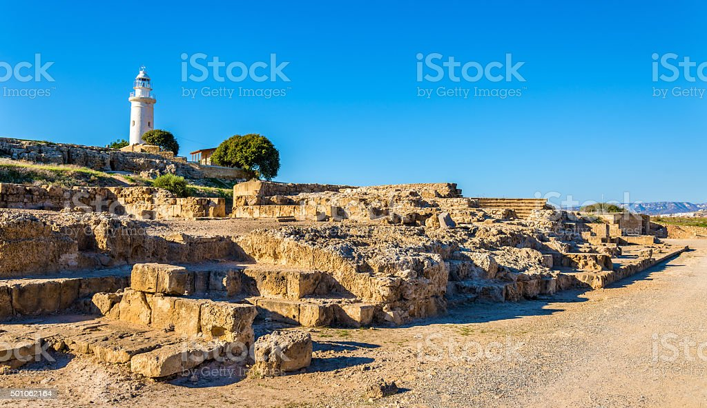 View of lighthouse and Paphos Archaeological Park - Cyprus stock photo