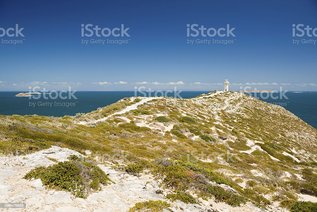View of lighthouse at Cape Spencer,  South Australia.  stock photo