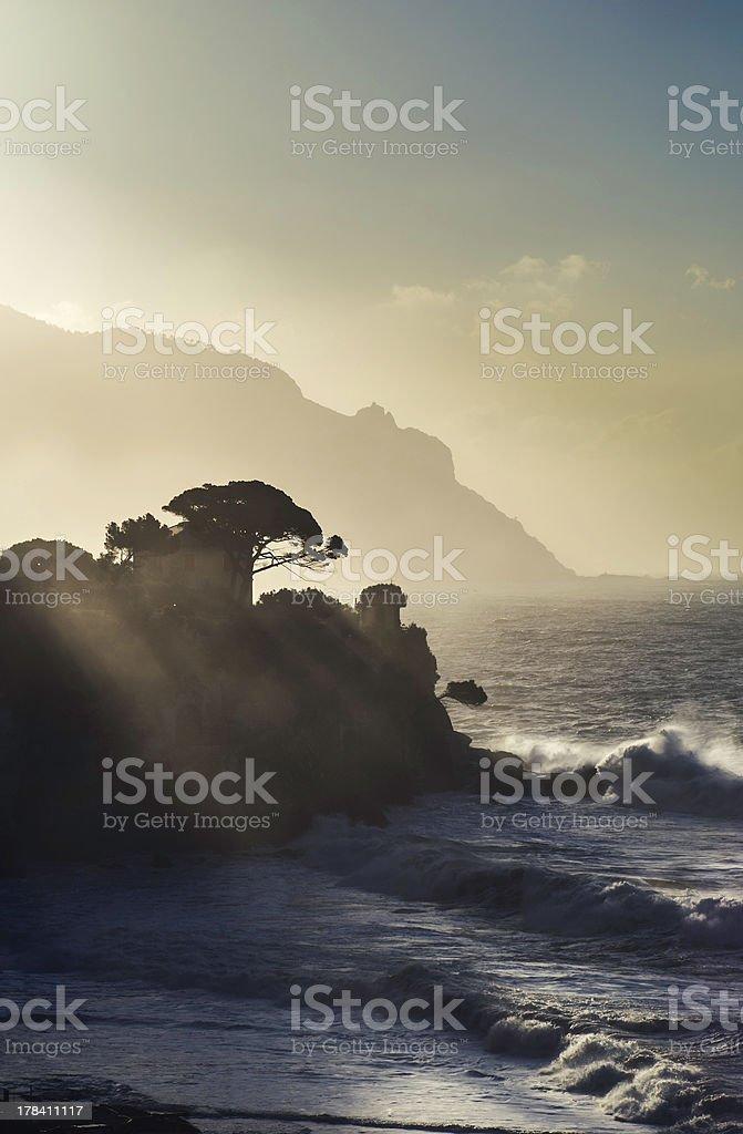 view of ligurian coastline, Italy stock photo