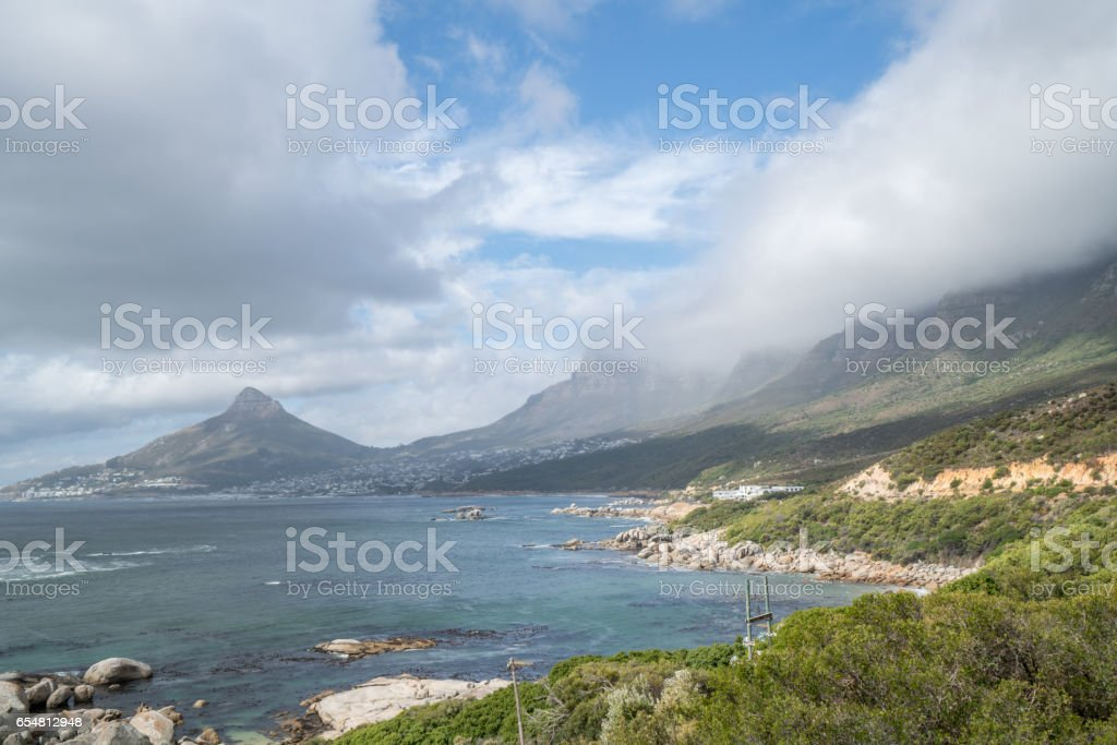 View of Lion's head and coastline, Cape Town stock photo