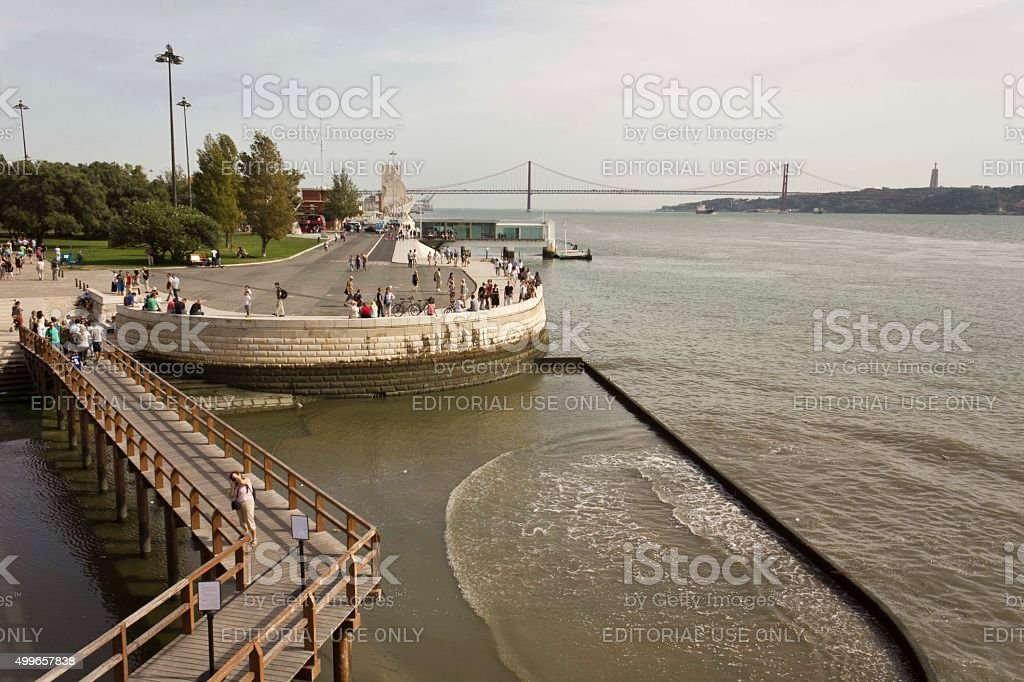 View of Lisbon and Tagus River in ebb Tide stock photo