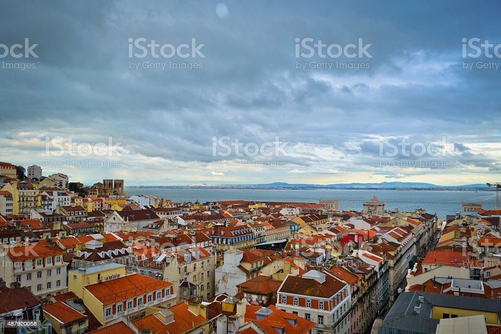 View of Lisbon from the elevator de Santa Justa stock photo