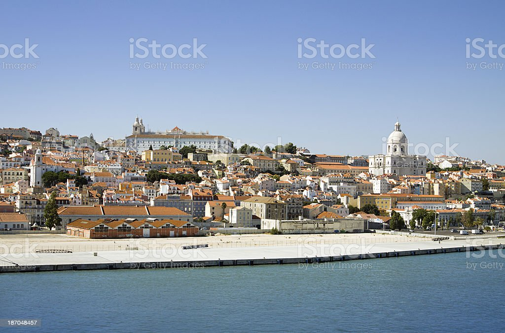 View of Lisbon from the Tagus River royalty-free stock photo