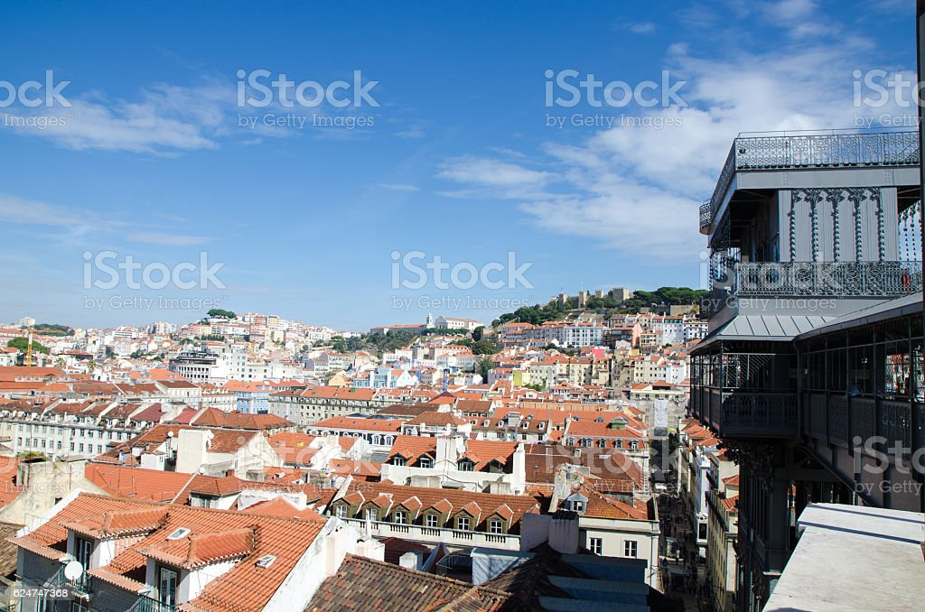View of Lisbon from top of Santa Justa elevator stock photo