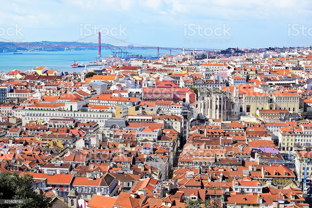 View of Lisbon with bridge in the background, Portugal stock photo
