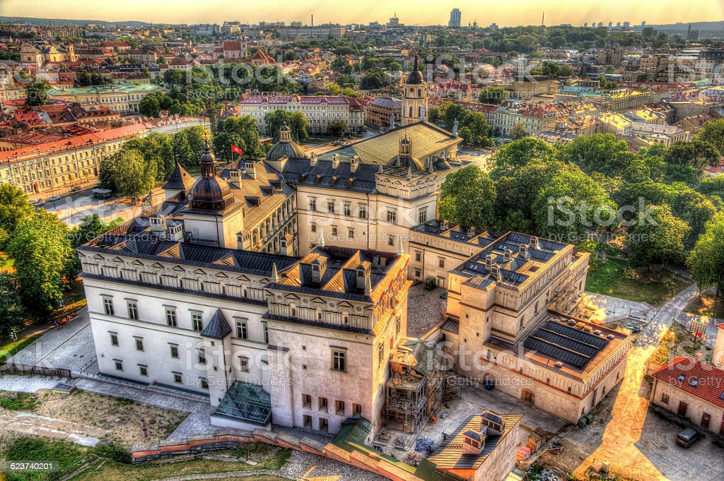 View of Lithuanian Royal Palace in Vilnius stock photo