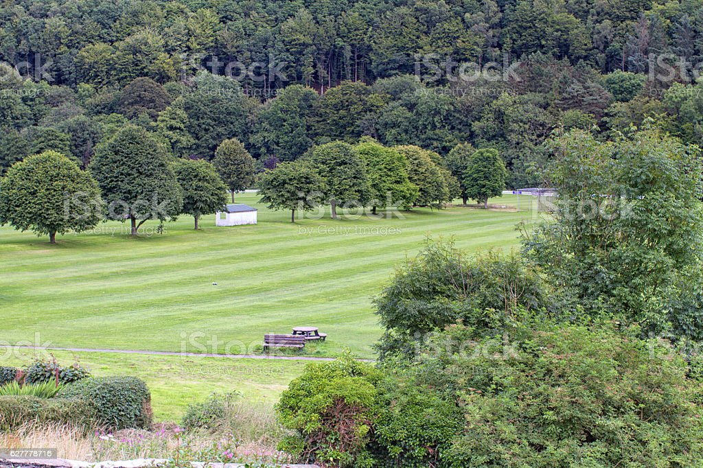 View of Llandysul playing fields in Ceredigion, Wales. stock photo