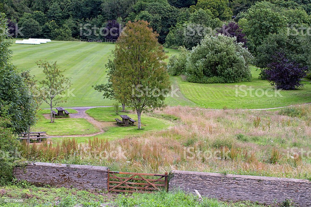 View of Llandysul town park in Ceredigion, Wales stock photo