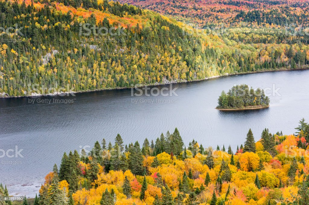 A view of l'île aux pins (Pine Island) in La Mauricie National Park situated in the Canadian province of Québec. stock photo