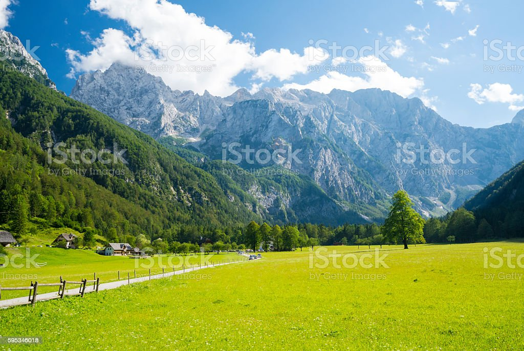 View of  Logar valley not far from  Palenk waterfall, Slovenia stock photo