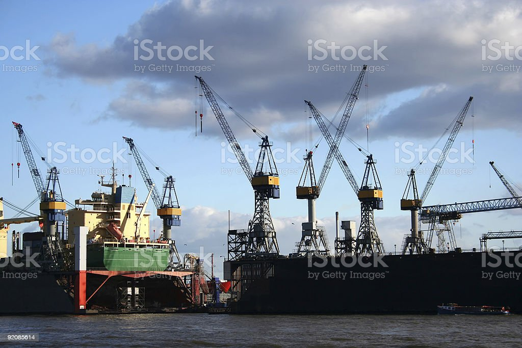 View of logistics and cranes at the harbour - serie royalty-free stock photo