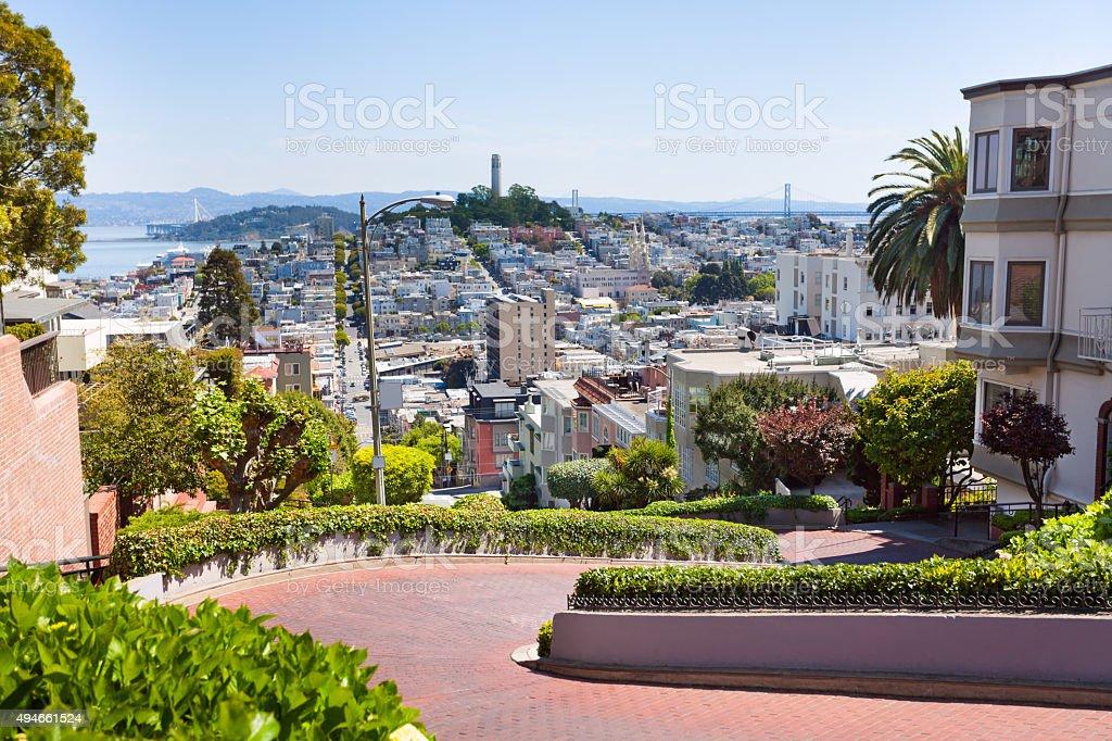 View of Lombard street, cityscape, San Francisco stock photo