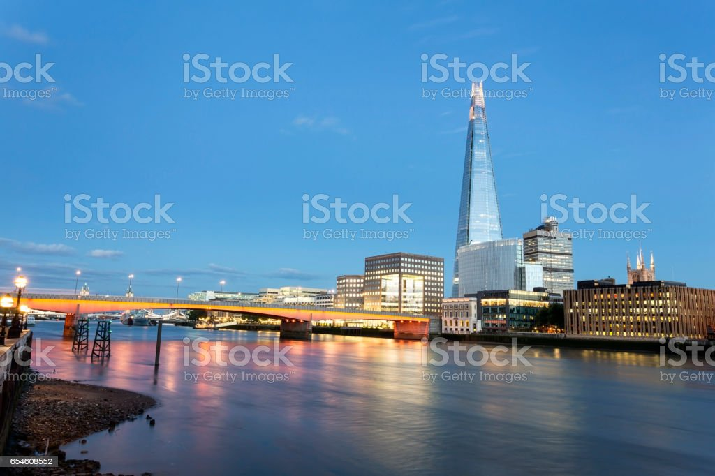 View of London Bridge, The Shard and Tower Bridge at dusk stock photo