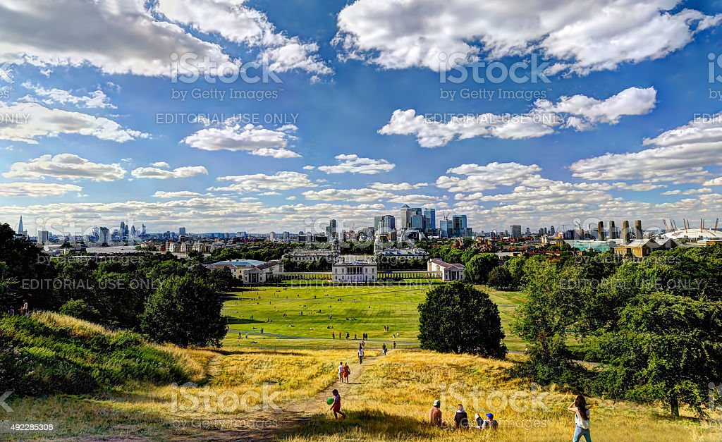 View of London from Greenwich Observatory stock photo