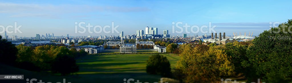 View of London from Greenwich Observatory (wide angle) stock photo