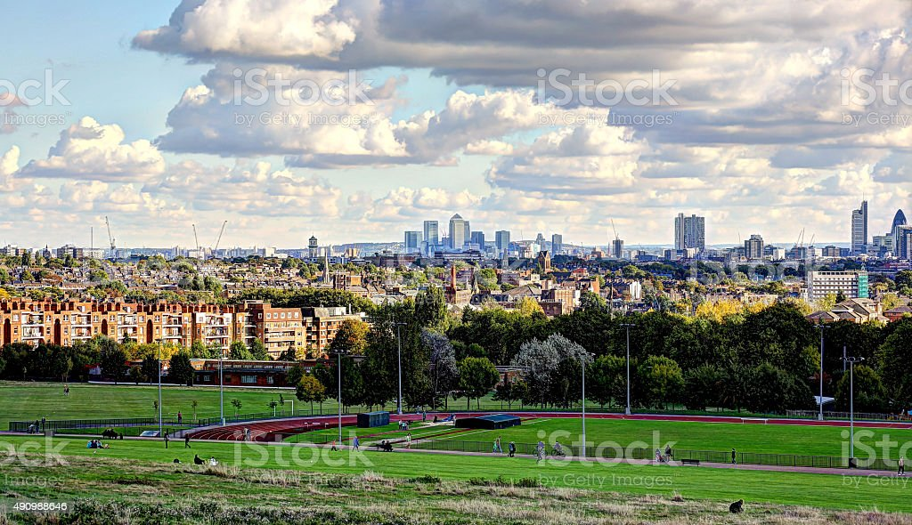 View of London from hampstead Heath stock photo