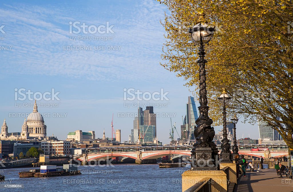 View of London from the South Bank stock photo