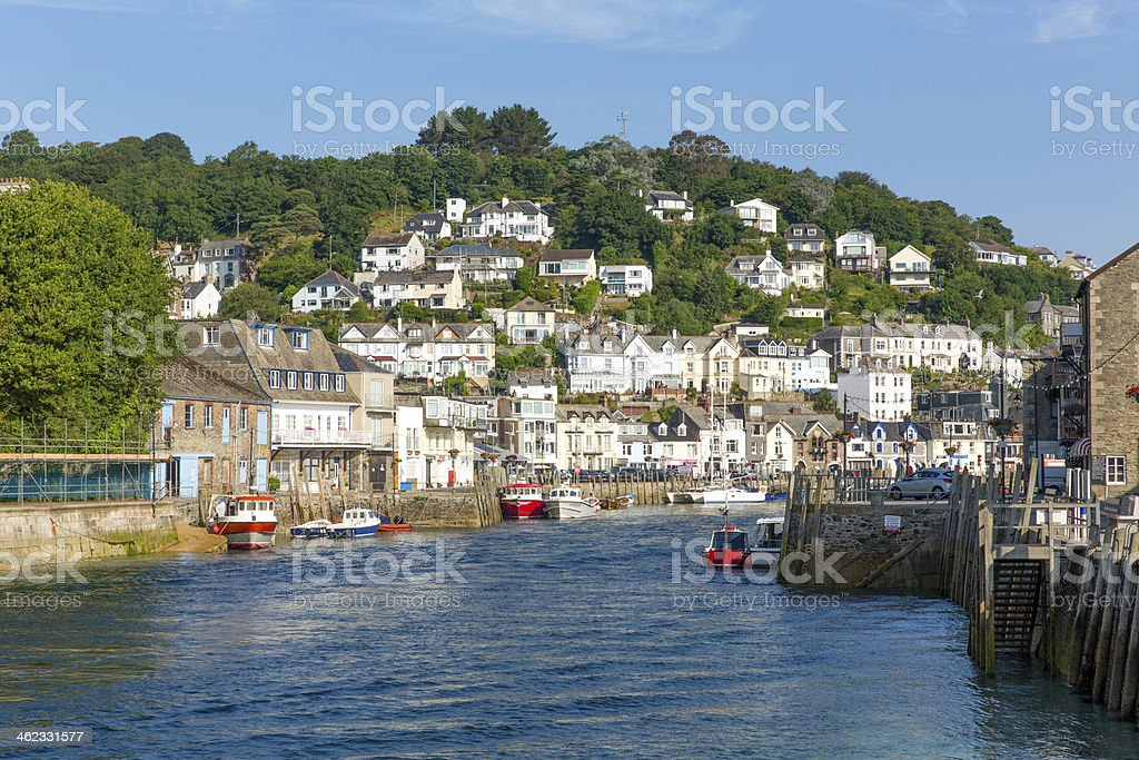 View of Looe town and river Cornwall England stock photo