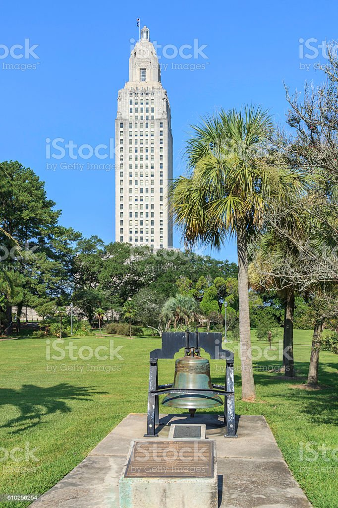 View of Louisiana State Capitol and copy of the Liberty Bell stock photo