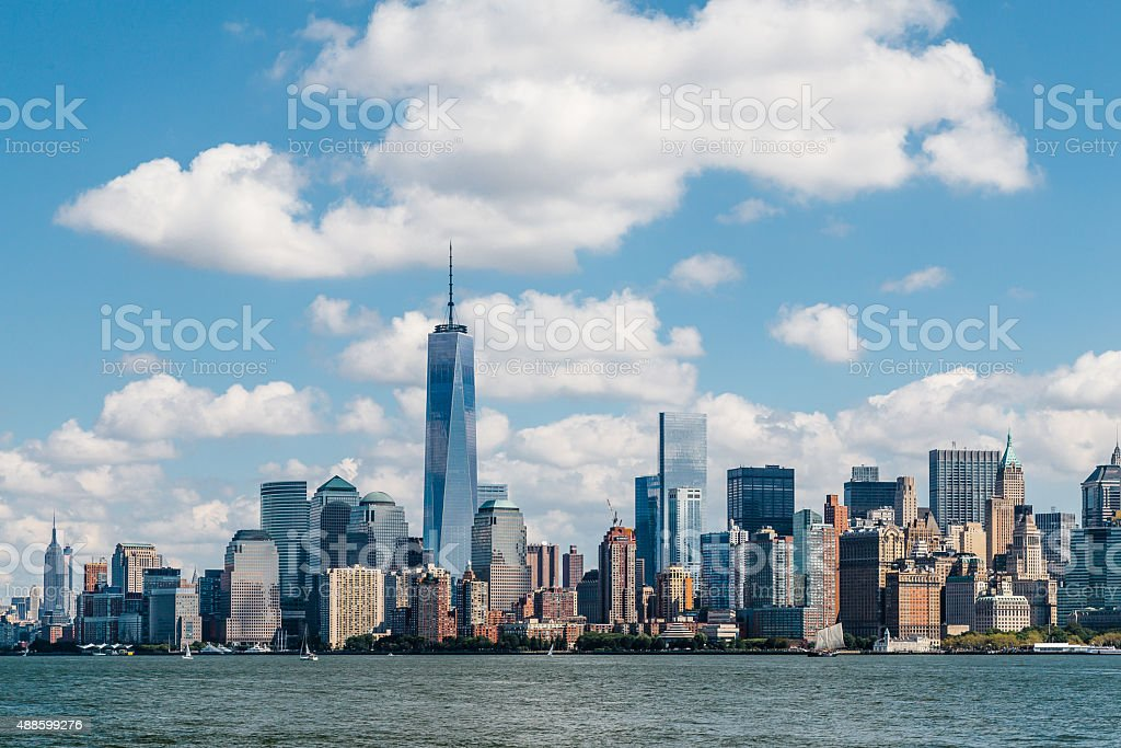 View of Lower Manhattan from Liberty Island in summer stock photo