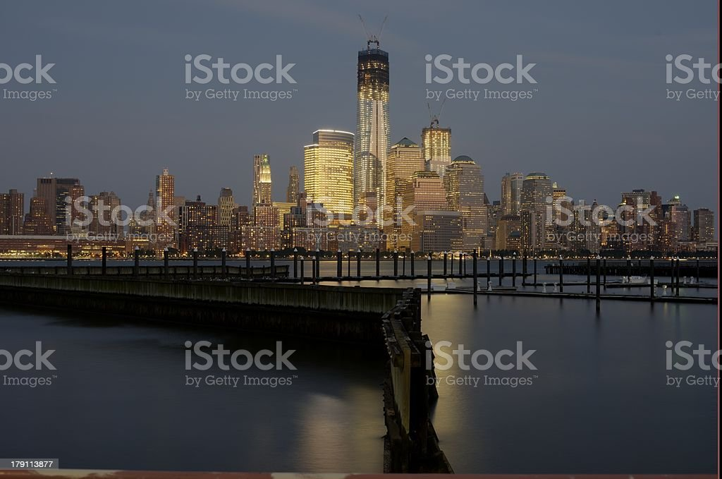 View of Lower Manhattan from New Jersey at Sunset. royalty-free stock photo
