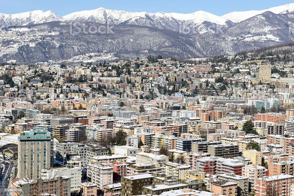 View of Lugano on Switzerland stock photo