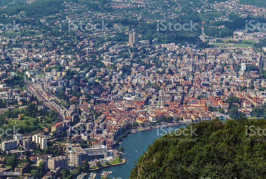 view of Lugano, Switzerland stock photo