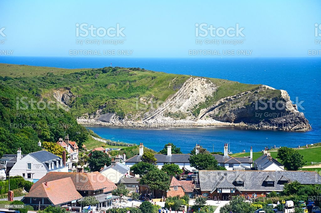 View of Lulworth Cove and village. stock photo
