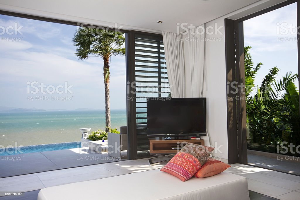 View of luxurious bedroom on beach royalty-free stock photo