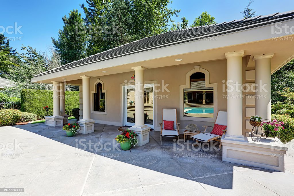 View of luxury guest house with column porch. stock photo