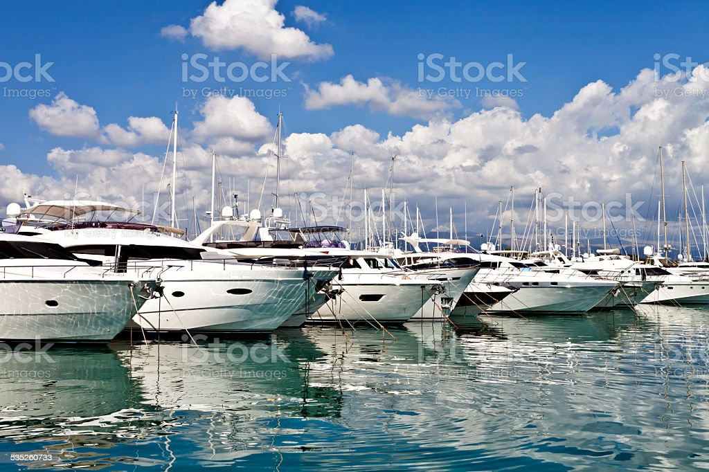 View of luxury yachts in a harbour stock photo