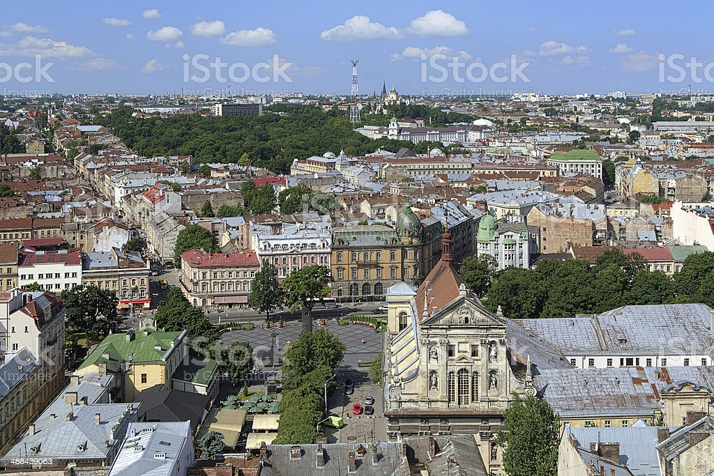 View of Lviv from the City Hall, Ukraine stock photo