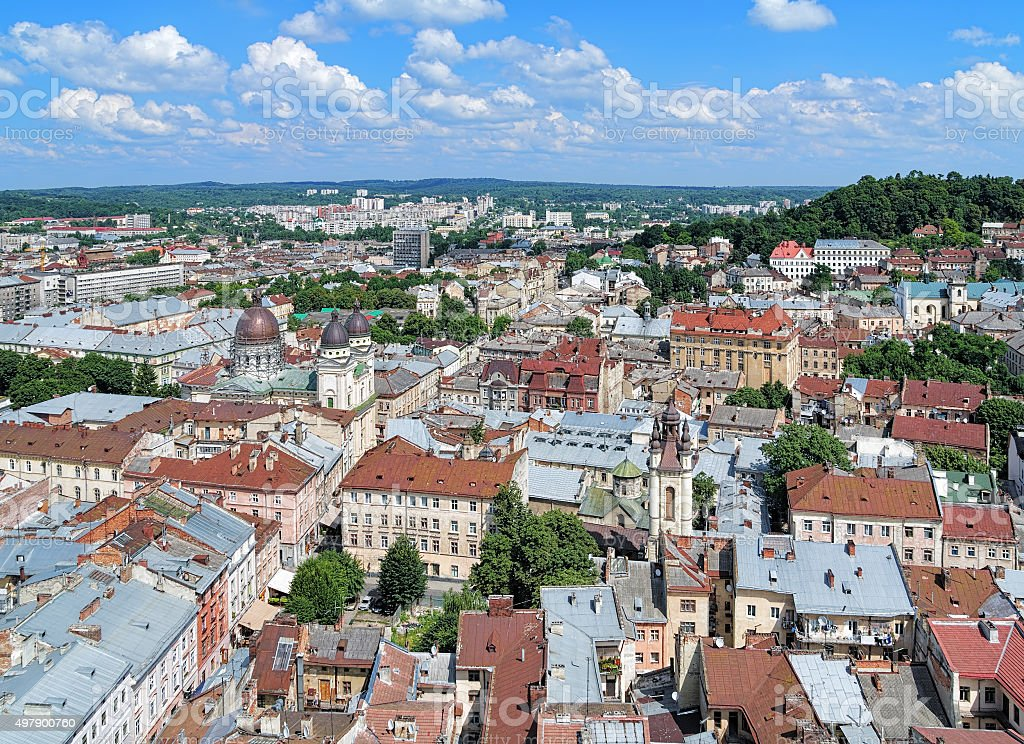 View of Lviv from the tower of City Hall, Ukraine stock photo