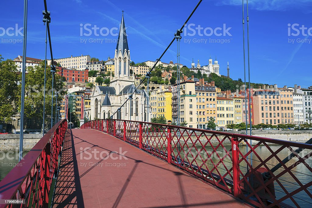 View of Lyon city from red footbridge royalty-free stock photo
