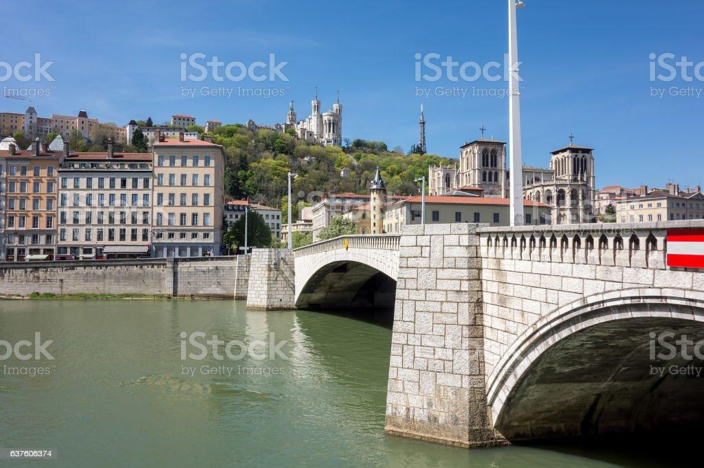 View of Lyon, France. Basilica of Notre Dame de Fourviere stock photo