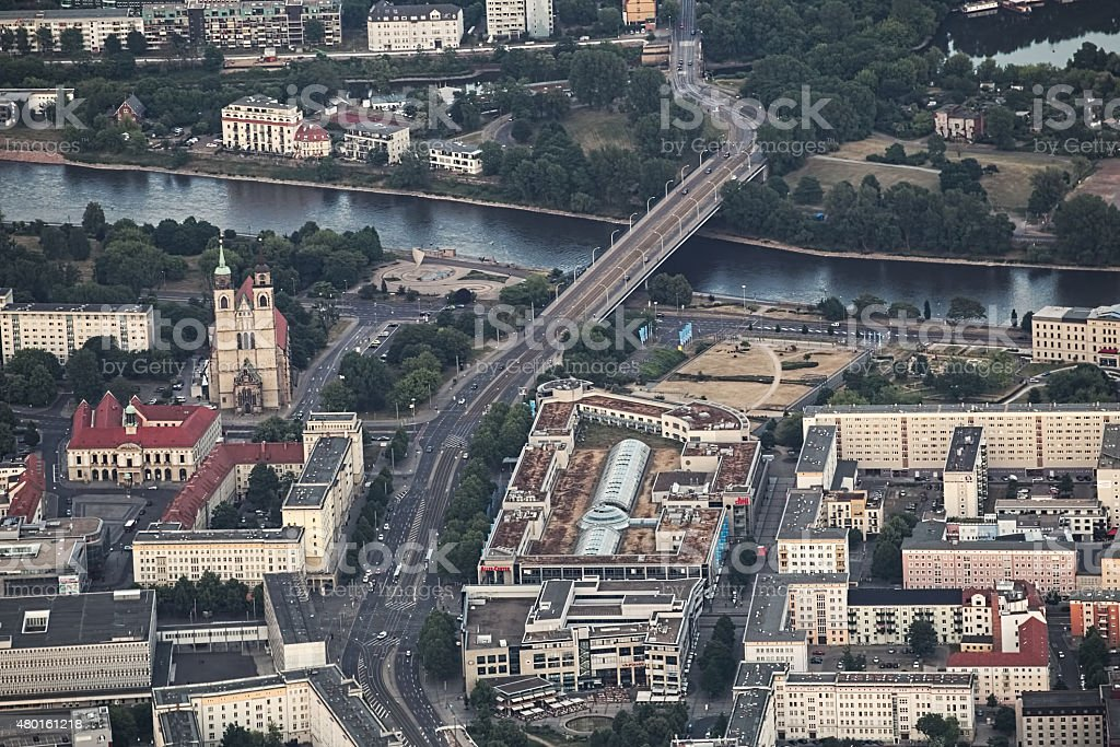 View of Magdeburg - Neue Strombruecke stock photo