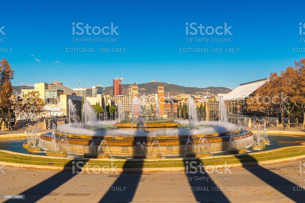 View Of  Magic Fountain With Cityscape In Background stock photo