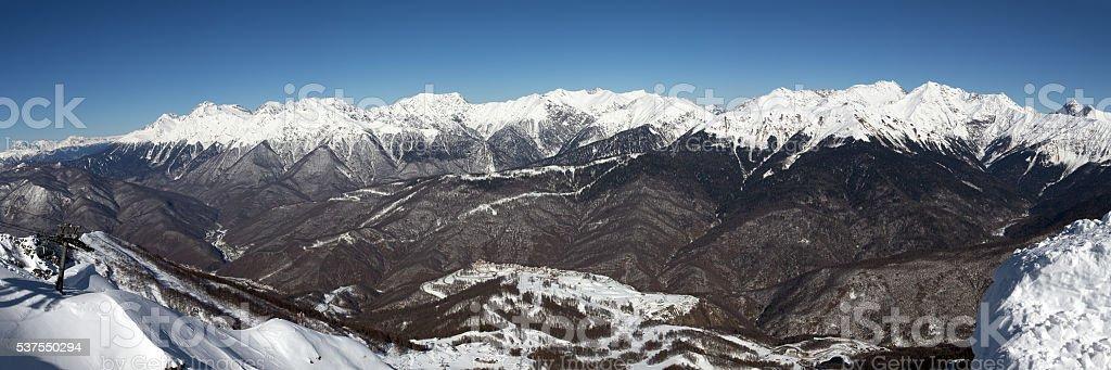 View of Main Caucasian ridge from top Rose Peak. Sochi stock photo