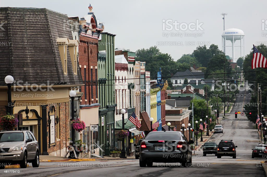 View of Main Street and Buildings in Downtown Harrodsburg, Kentucky stock photo