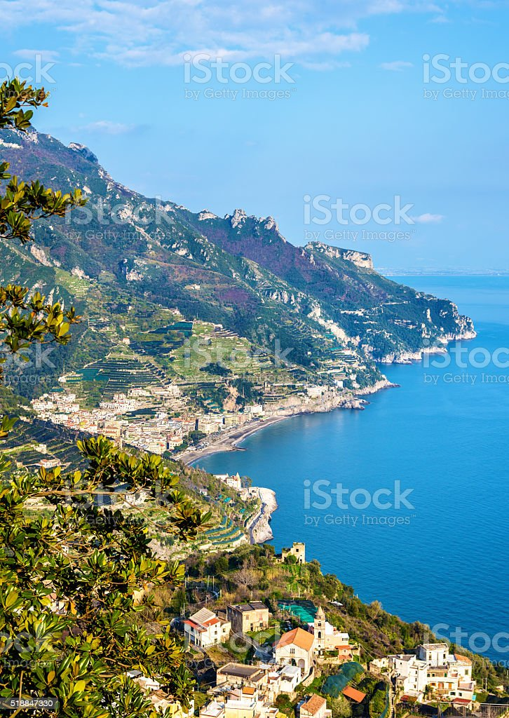 View of Maiori from Ravello - the Amalfi Coast stock photo