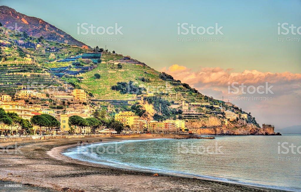 View of Maiori on the Amalfi coast stock photo