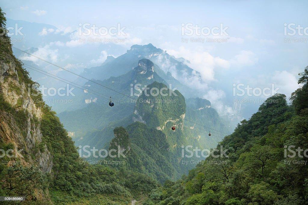 View of majestic peaks of Tianmen mountain stock photo