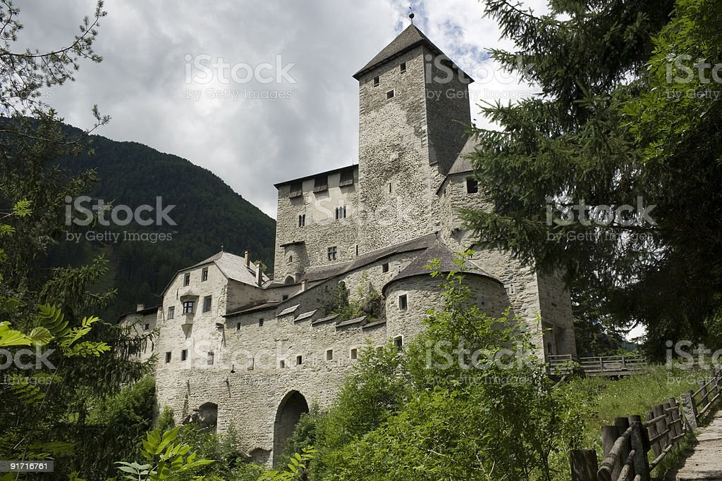 View of majestic Tures Castle and cloudy sky royalty-free stock photo