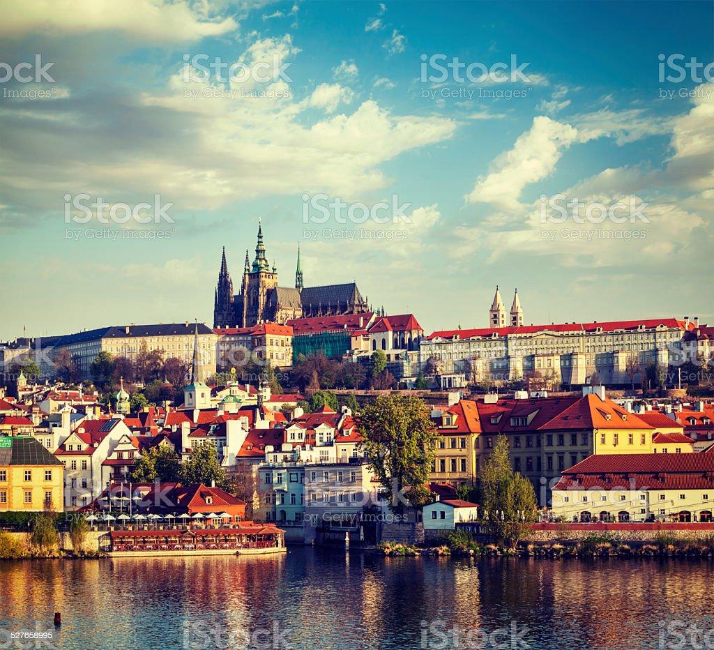 View of Mala Strana and  Prague castle over Vltava river stock photo