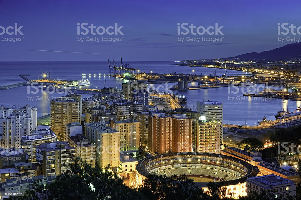 View of Malaga at twilight stock photo