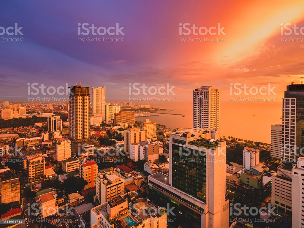 View of Malate in Metro Manila, Philippines stock photo