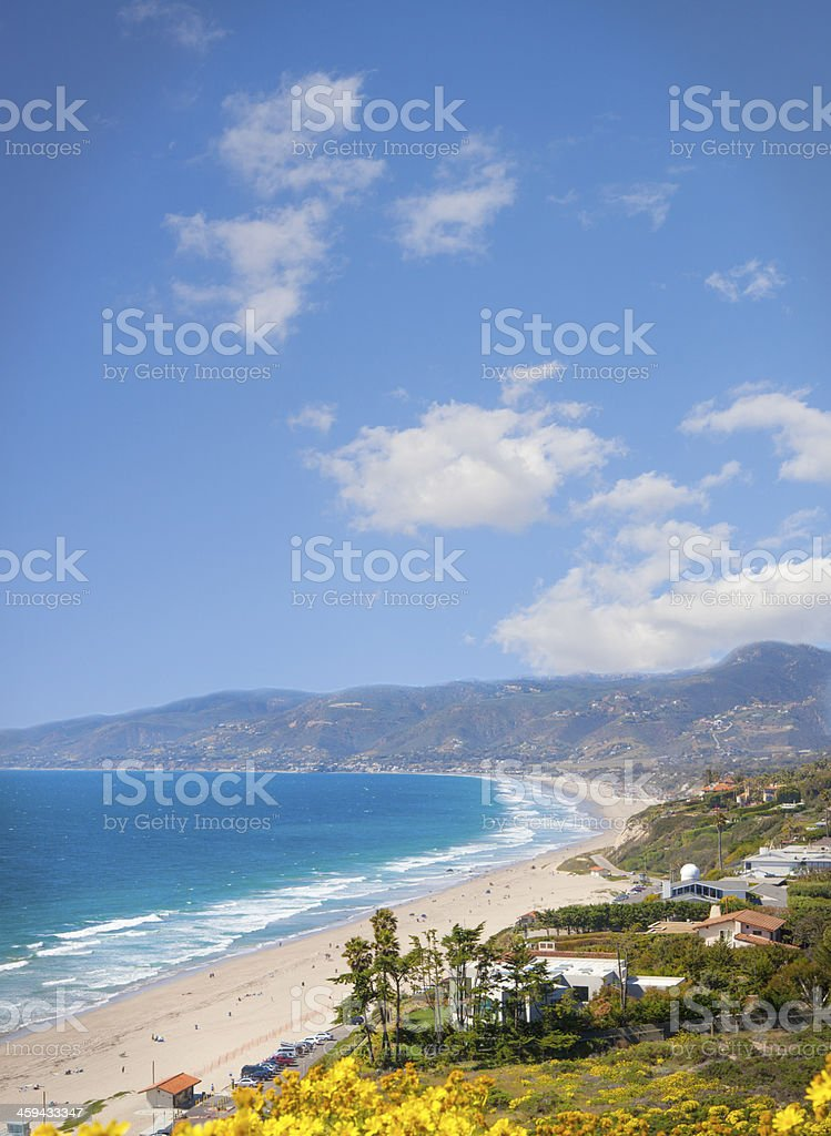 View of Malibu beach and houses stock photo